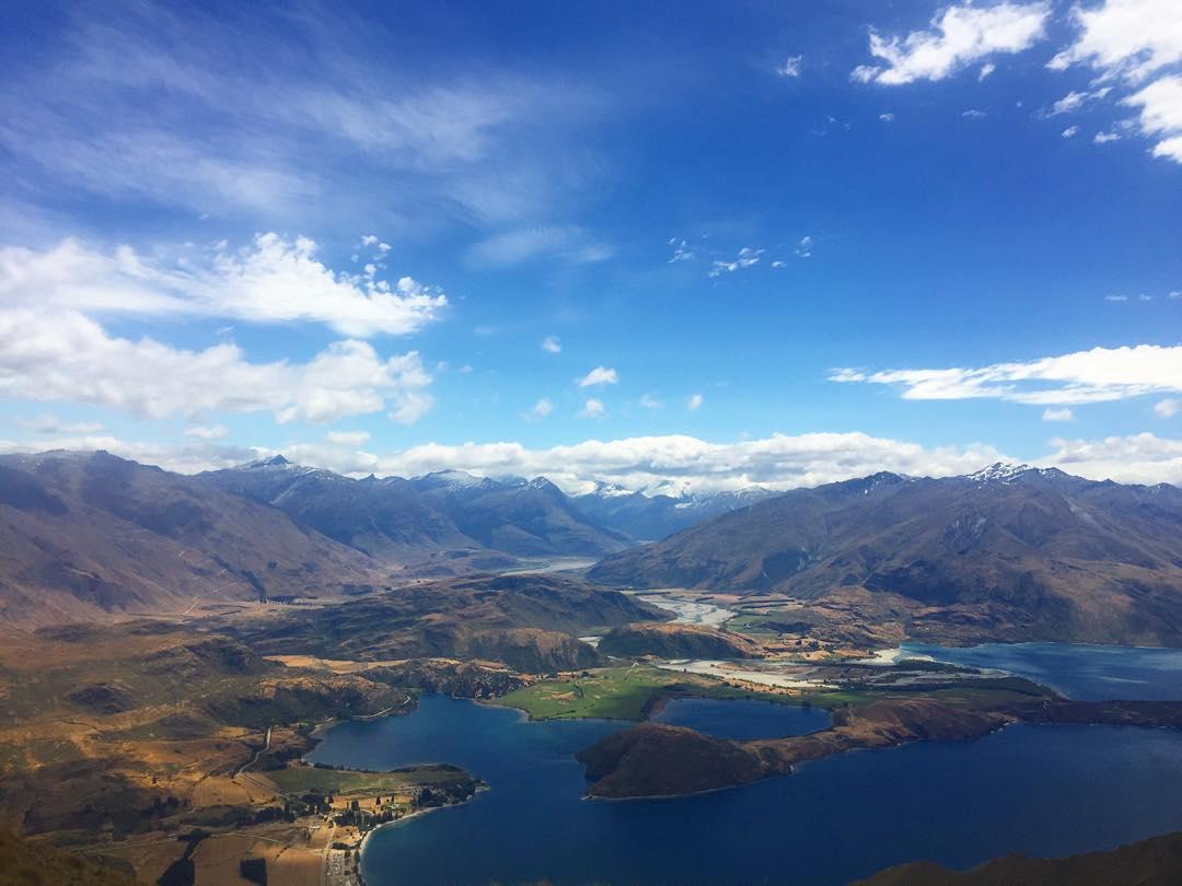 #MountainClimbing in #Wanaka at #RoysPeak.  #Trekking #Tramping #Hiking #NewZealand #Nature #Landscape #Lake #Mountains #Fields #Clouds #Sky