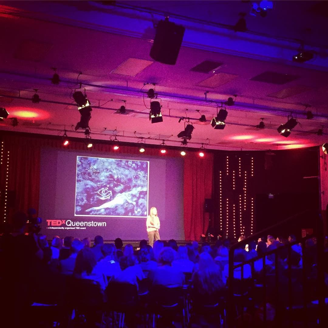 #PeggyOki of #ZBoys fame speaking about #Whale conservation and the #OrigamiWhalesProject at the #TEDxQueenstown #CONNEXIONS event.