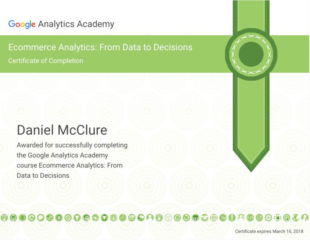 Ecommerce Analytics Certificate