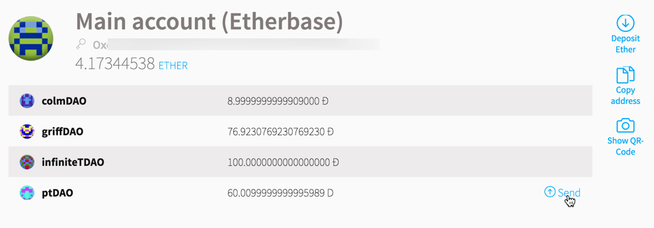 Sending DAO Tokens with the Ethereum Wallet